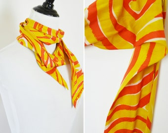 Vintage 1960's Silk Yellow and Orange Swirl Scarf- Ladies necktie scarf- vintage ascot scarf- 60's psychedelic scarf