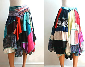 Upcycled Skirt Wearable Art Bohemian Asymmetrical Multicolor Recycled Clothing Size Extra Large XL 1x Plus Size