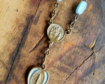 Repurposed Vintage Blue Opalescent Glass Rosary Beads Necklace Blue Enameled Miraculous Medal Heart Gold Toned Old Religious Scene