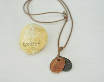Natural jewelry - unique necklace - for men or women - river stone - organic