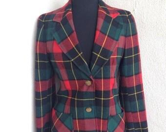 Vintage Wardrobe  Maker plaid blazer jacket preppy lined sz S 8