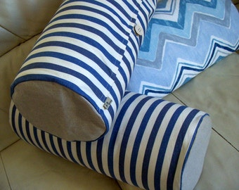 Joan -Neck pillow cover Cottage chic Rustic Beach house decor Home Round Cotton linen Blue White stripes Wooden button Handmade in Finland