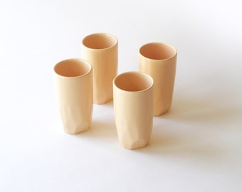Ceramic Geo Tumblers in Peach - Set of 4