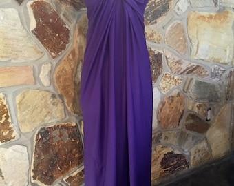 1970s Petite Bergdorf Goodman Purple Strappless Dress