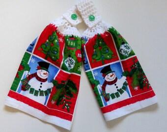 Poinsettia/Snowman Believe Crochet Top Kitchen Hand Towels