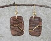 Kintsugi (kintsukuroi) inspired bronze zebra jasper stone drop earrings with gold repair - OOAK