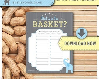 Baby Shower Games, Printable What's In the Basket Game, Blue Elephant Little Peanut theme, Blue and Grey, Instant Download, Invite in shop