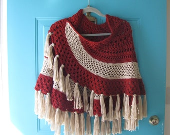 Hand Crocheted Shawl,Autumn Red and BeigeW/Finge, Ready to Ship, Originally 50.00