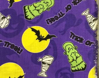 Halloween Fabric/ Frankenstein Fabric / Mummy Fabric / Cotton Fabric / Halloween Fabric By The Yard