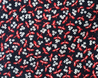 Calico Cotton Fabric / Red and Black Calico Fabric / Cotton Fabric / Quilting Fabric