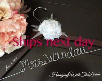 Rush order Ships next business day,Wedding hanger, custom wire hanger, bridal hanger, bride gift, bridesmaids gift, custom made hanger