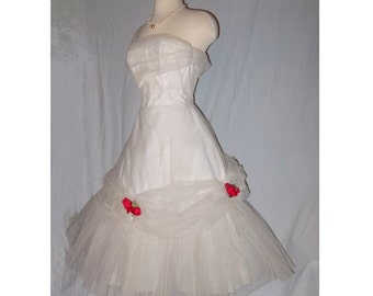 Vintage 1950 Dress, White, Sweet Sixteen, Debutante, Coming Out, Formal White Party Dress
