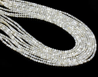 """GU-11453-2 - Natural Mother Of Pearl Rounds - 4mm - Gemstone Beads - 16"""" Full Strand"""