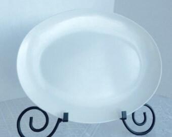 Vintage White Melamine Serving Platter for Picnics or Camping