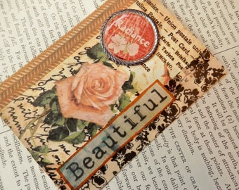 "ACEO ATC one-of-a-kind Collage and Ink ""BEAUTIFUL"" Artist Trading Card"