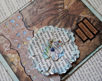 "ALL OCCASION CARD Blank Inside ""Journey - Memories - Smile"" Repurposed Book Text and Map Dimensional Flower Vintage Style"
