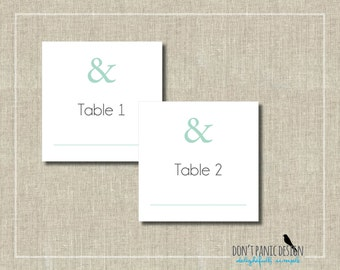 Whimsical Printable Table Numbers 1-30  Mint green and Gray Wedding or Event Table Numbers - Instant Download