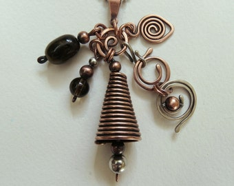 Copper/Sterling Silver Charm Bell Pendant/Necklace Handmade