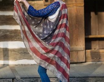 American Flag Scarf Vest