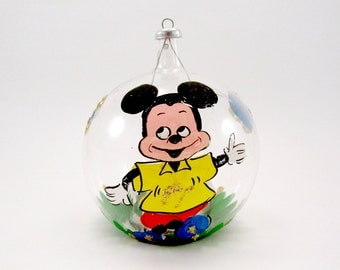 Vintage Italian Mickey Mouse Christmas Ornament Glass Handpainted Reflecting Christmas Decoration Bauble