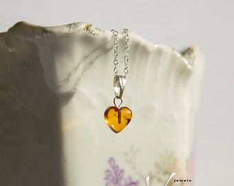 Tiny heart shaped natural Baltic amber pendant with inclusions, sterling silver necklace, natural amber, honey orange baltic amber heart