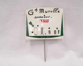 """Vintage French Dairy Cremerie Grocery Store Price Sign Tag """"Grand Murolle"""" in French Franc 70s v383"""
