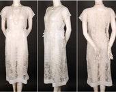 20s SUMMER DRESS cotton batiste lace cream original vintage 1920 large size M