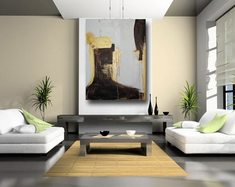 Modern Abstract Painting Contemporary art industrial decor primitive art home and living gold wall art gold and white art by Cheryl Wasilow