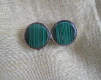 Silver 925 Malachite clips