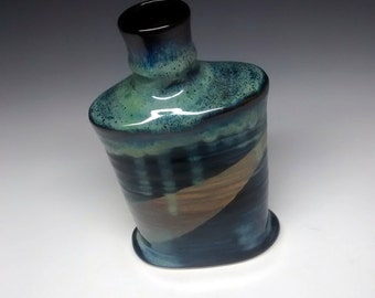 Ceramic Flask - Handmade Pottery - Blue Stoneware - 10 oz