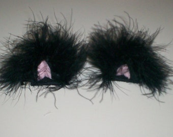 3D Furry Black Kitty Ears Hair Clips