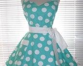 Fifties Style Retro Apron Teal Blue with White Jumbo Dots Circular Flirty Skirt Satin Edge Organza Trimming