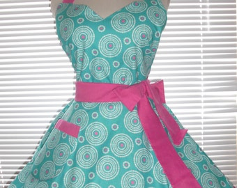 Retro Apron Teal and Fuchsia Print Circular Flirty Skirt Accented With White Ruffled Ribbon