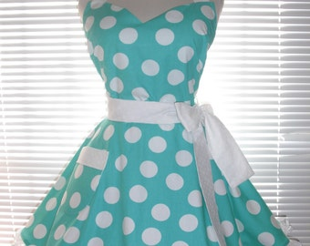 Fifties Style Retro Apron Teal Blue with White Jumbo Dots Circular Flirty Skirt Satin Edge Organza Trimming