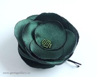 Green Satin Hair Pin, Green Organza Wedding Flower, Green Hair accessories