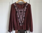 Vintage Women Shirt Blouse Brown White Black Embroidered Long Sleeve