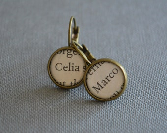 Celia and Marco The Night Circus Book Earrings