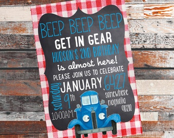 The Little Blue Truck Birthday Invitation. Blue truck party. rustic birthday invite. truck birthday. Farm animal birthday party.