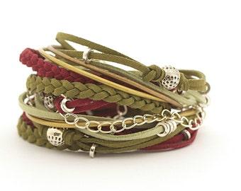 Marsala Olivine Bohemian Wrap Bracelet, Green Maroon Women Bracelet, Marsala Gypsy Bracelet, gift for her, double wrap boho chic