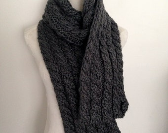Keep Toasty Warm This Winter in this Hand knitted Cable Scarf-Hand knitted-Made in New Zealand-Graphite Grey-Dallas Grey