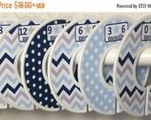 Custom Baby Closet Dividers Navy Blue Grey Stars Dots Chevrons CD869 Baby Boy Shower Gift Nursery Clothes Organizers