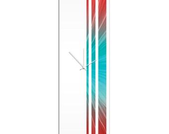 Large Modern Clock 'Reef Triple Stripe Clock' by Adam Schwoeppe - Wall Decor Minimalist Accent Piece on Acrylic