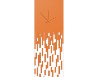 Surreal Wall Clock 'Orange Pixelated Clock' by Adam Schwoeppe - Techy Style Decor Abstract Accent Piece on Acrylic