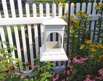 PVC birdfeeder, feeder for small birds, hanging feeder, ez clean, Bridgeport Diner, white PVC, small birdfeeder, lantern, Made in USA