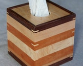 Boutique Tissue Box Cover Handmade out of Cherry, Walnut, Maple, Sycamore, and Oak - FREE Shipping To USA