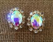 Our Joan Earrings Flower Crystal Oval Studs in Aurora Borealis