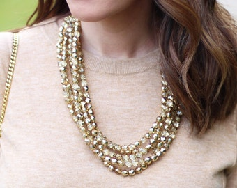Sparkly Gold Statement Necklace