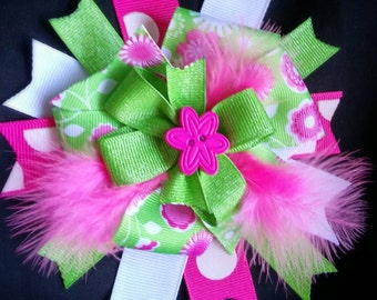 Pink and Green Flower and Feathers Bow