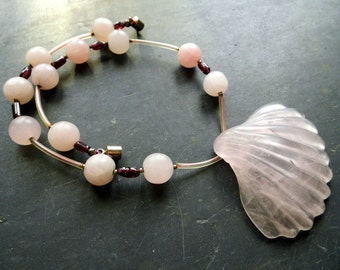 Necklace, shell, Rose Quartz, Garnet, jewelry, pink