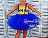 Minion tutu dress sizes 6-9m, 9-12m, 12-18m, 2t, 3t, 4t, 5t